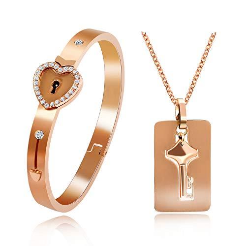 Uloveido Couples Rose Gold Plated Schloss Armreif und Schlüssel Halskette mit Zirkonia für Frauen und Männer Edelstahl Halskette Armband Set für Freund Freundin Y474 (Paare Armband Schloss Und Schlüssel)