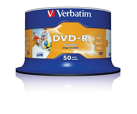 Verbatim 43533 DVD-R 16x 50-pack Printable Optical Media