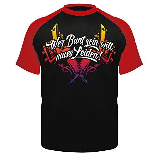 Männer und Herren T-Shirt Wer bunt sein will muss leiden Schwarz/Rot