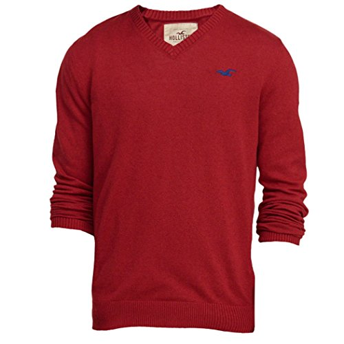 hollister-homme-v-neck-icon-sweater-pull-sweatshirt-longue-taille-small-rouge-624370691