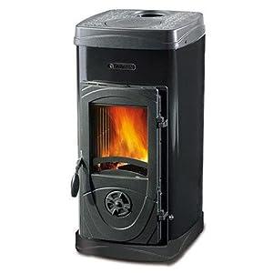 La Nordica Estufa de leña Super Max revestimiento de acero esmaltado Potencia térmica nominal 6kW 172M3calefactables Color Negro
