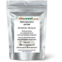 540 Kapseln Alpha Liponsäure ALA á 250mg Antioxidantien - Anti Aging - Fettverbrennung - Lipon