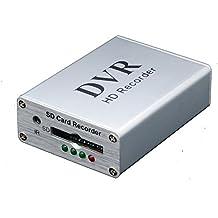 Coomatec Mini DVR 1CH Grabador de Vídeo Digital de Tamaño mini, Portátil 1 Canal de Vídeo y Entrada y Salida de audio, Apoya Tarjeta Micro SD, Conector para Cámara y FPV and Vehículo HD MPEG-4 Video