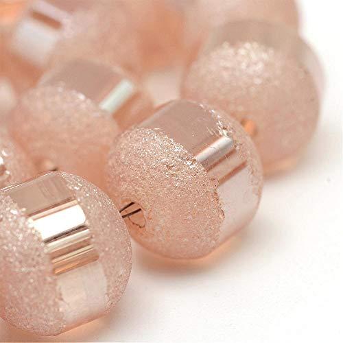Glasperlen Galvanisierte 6mm Runde Matt perlen mit Silber plattiert 1 Strang 100stk Regenbogen Effekt Perle mit Loch zum auffädeln Farbauswahl (Lachs Salmon) (Perlen Lachs)