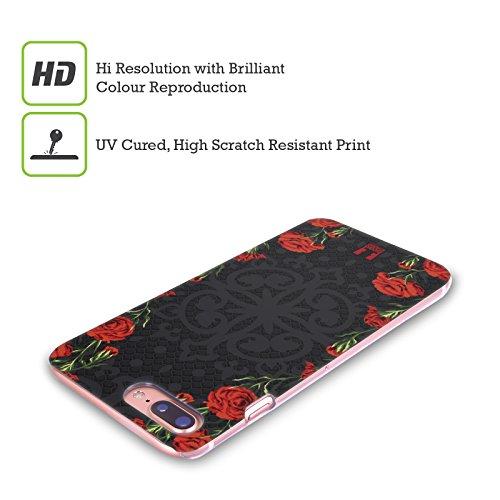 Head Case Designs Rosa E Verde Floreale Art Deco Floreale Cover Retro Rigida per Apple iPhone X Floreale Rosso