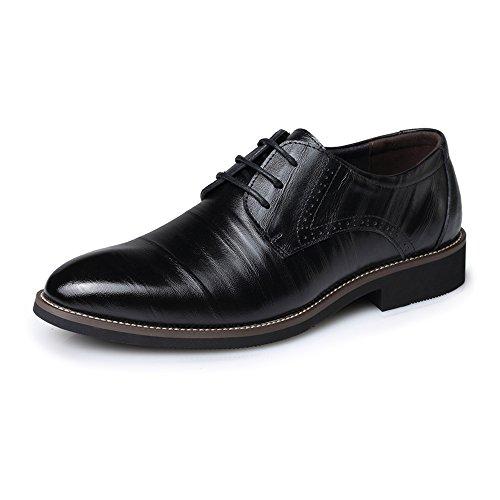 GBY Herren PU Leder Schuhe schnüren Sich Oben Slouch Vamp Loafers gefüttert Smoking Brogue Oxfords schwarz Heel Driving Schuhe (Color : Schwarz, Größe : 40 EU) -