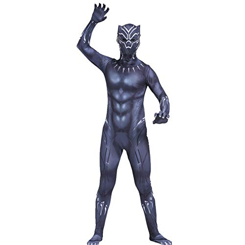 Black Panther Kostume Kinder Jungen Superhelden Kostüme Erwachsene Herren Avengers,Halloween Karneval Kostüm,Film Cosplay Overall Kostüm,Adult-170cm