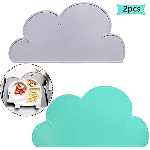 Tovaglietta in silicone per bambini, betoy 2pcs silicone placemat forma di nuvola bpa free antiscivolo impermeabile portatile baby tappetino grigio, verde