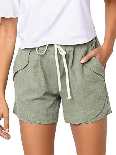 Onsoyours Shorts Damen Sommer Kurze Hose Einfarbig Crimpen Lose Strand Sport Hot Pants Hellgrün Medium