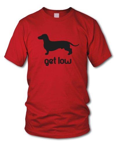 shirtloge - GET LOW - KULT - Fun T-Shirt - in verschiedenen Farben - Größe S - XXL Rot (Schwarz)