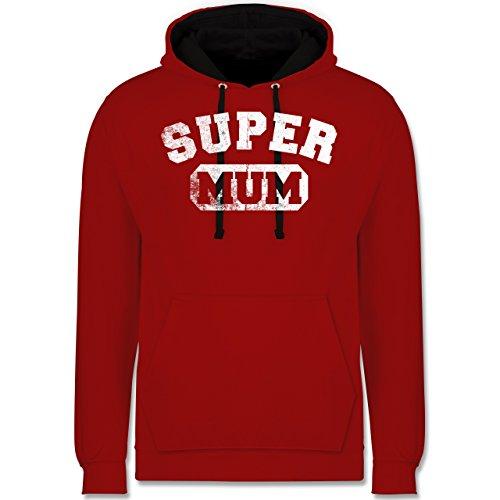 Muttertag - Super Mum - Vintage-&Collegestil - Kontrast Hoodie Rot/Schwarz