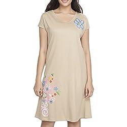 Clifton Womens Long Top Nightwear-Floral - Saffari - Medium