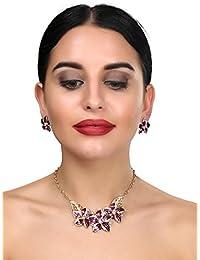 Fashion 18k Gold Plated Necklace Set/Jewellery Set With Fancy Party Wear Earrings For Girls/Women