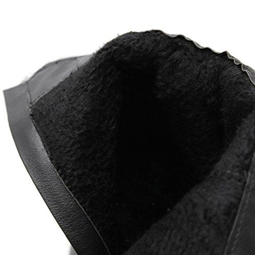 AllhqFashion Damen Hoher Absatz Rein Rund Zehe Weiches Material Reißverschluss Stiefel Schwarz