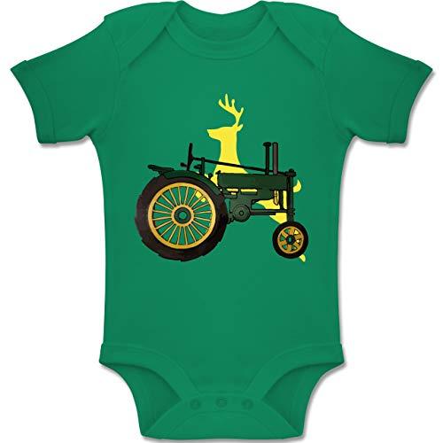 Shirtracer Fahrzeuge Baby - Traktor Hirsch Deer - 12-18 Monate - Grün - BZ10 - Baby Body Kurzarm Jungen Mädchen (John Deere Für Baby Mädchen)