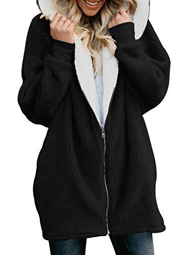 Dearlove Damen Winter Pullover Mantel Strickjacke Kapuzenpulli Sweatshirt Fleece Gefüttert Flauschjacke mit Tasche Reißverschluss Wolle Cardigan Oversize Schwarz L