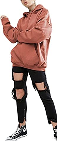 Frauen arbeiten mit Kapuze Kordelzug Solid Color Langarm-loser beiläufiger Sport-Sweatshirt