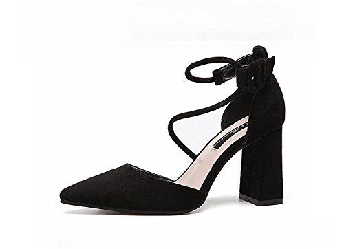 pengweiLe scarpe sandali delle scarpe degli alti talloni delle signore del legame poco profonde e della camicia di scarsit¨¤ hanno regolato Black
