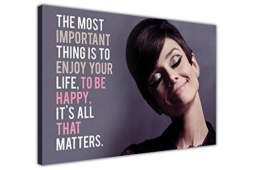 16 In Leinwand (Audrey Hepburn Smile Zitat auf Rahmen Leinwand Art Wand Bilder, 03- A2 - 24