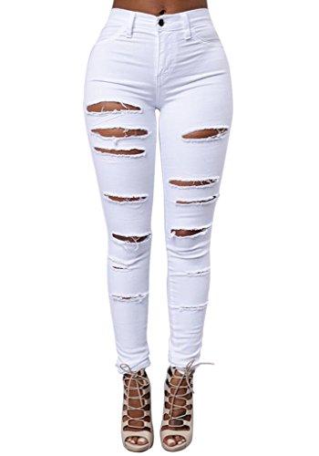 Mena Uk- Frauen große elastische Füße Hosen schlank war dünne Loch Jeans Weiß