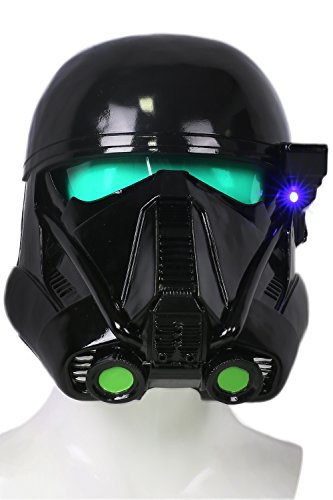 play Kostüm Helm Deluxe Schwarz Troopers Weich Harz Maske mit LED für Party Verrückte Kleid Merchandise (Black Light Party Kostüm)