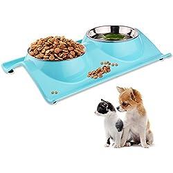 ShareWe Cuencos Doble para Perro Gato Animal Mascotas Cuencos Alimento Agua Platos de Acero Inoxidable con Diseño Antideslizante y Antiderrames (Azul)