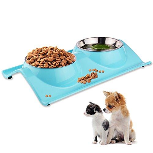ShareWe Ciotole per Cani Gatti Antiscivolo Animali Vassoio in Acciaio Inox Alimentare Acqua per Animali Ciotola Cane per Acqua e Cibo per Piccoli, Medi e Grandi Cane, Gatti (Blu)