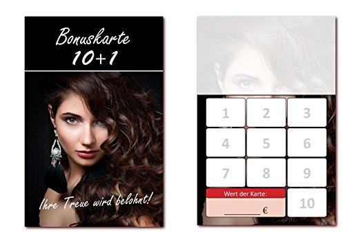 500 Stück Friseur Bonuskarten (BOK-410) mit 10 Stempelfeldern. Treuekarten passend für Bereiche wie Frisör, Kosmetik, Haarpflege