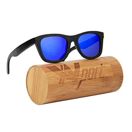 ynport crefreak Vintage Handwerk Sonnenbrille Schwarz Bambus Rahmen Classic Holz Eyewear 100% UV-Schutz, Herren, blau