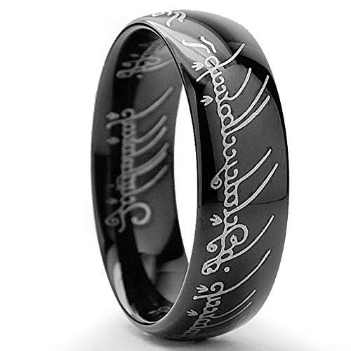 Herr der Ringe Wolframcarbid Schwarz Hochglanzpoliert Ring 7mm