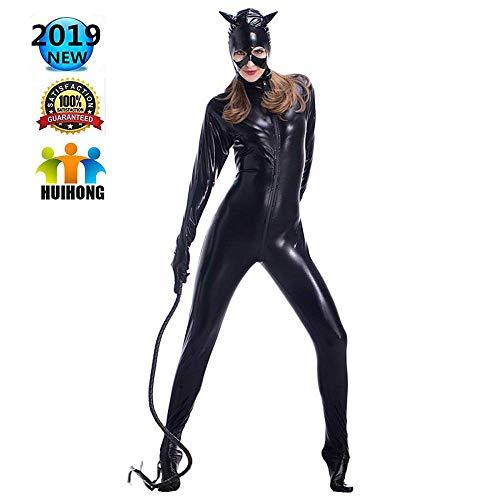 HUIHONG Catwoman Fancy Dress Kleidung Selina Kyle Cosplay Kostüm PU Body Overalls Frauen Weihnachten Halloween - Catwoman Kostüm Frauen