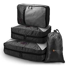 Idea Regalo - REYLEO Set di 4 Cubi da Imballaggio, Organizzatore di Bagaglio da Viaggio con Classificazione Logo, Cofanetto da Imballaggio Borsa in Borsa per Abiti / Cosmetici / Scarpe - CCPO1