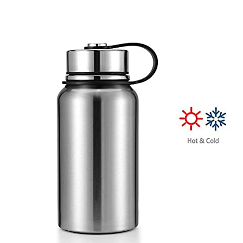 Makewe - 22 or 32 OZ Thermos Double-walled Vacuum Insulated Stainless Steel Sports Water Bottle Travel Mug (Silver, 22oz)