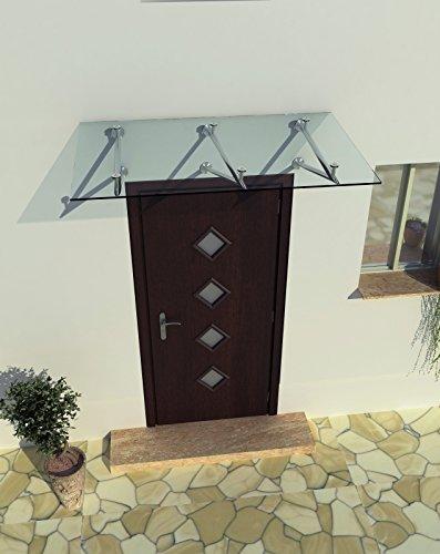 200 x 90 cm (3 Haltestangen) Glasvordach Vordach Türvordach Türdach Haustür Klarglas Glas...
