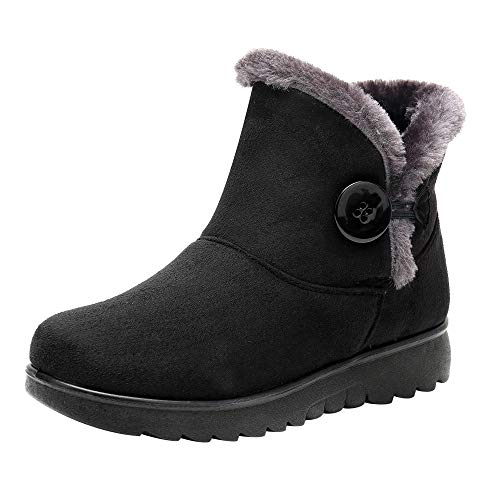 COZOCO Damen Winter Plus Samt wasserdichte Schneestiefel Warm Winterstiefel Solid Beiläufig Kurzschaft Stiefel Schuhe ...(Y-Schwarz,37 EU)