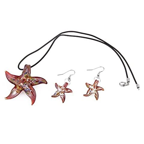 SODIAL(R) Collier Boucle d'oreille en Murano Etoile de Mer Rouge