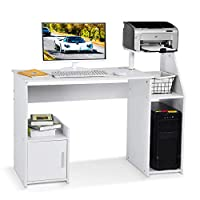 Lv. life Computer Desk with Host Drawer and Printer Shelf for Home Office PC Table Workstation,White