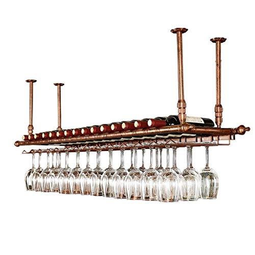 Tao Ceiling Wine Racks - höhenverstellbar an der Wand hängend Weinflaschenhalter Metall Eisen Weinglas Rack, Vintage Bar Dekoration Becher Stemware Racks (größe : L60*W30cm) Utensil Wand Rack