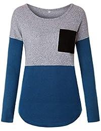 DEELIN Despeje Blusa Moda Mujer Casual O-Cuello Bolsillos Manga Larga Empalme Sudor Camiseta Suelta Blusas Camiseta Tops
