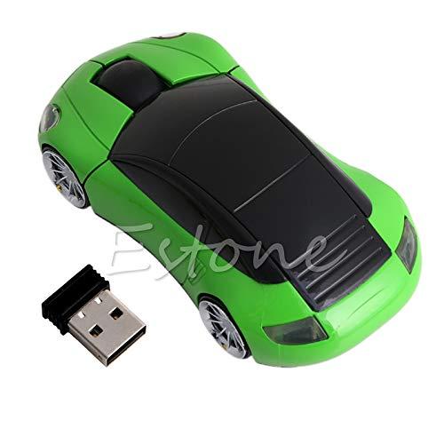 Exing Funkmaus 2.4G 1600DPI Optische Maus in Autoform mit USB-Empfänger grün