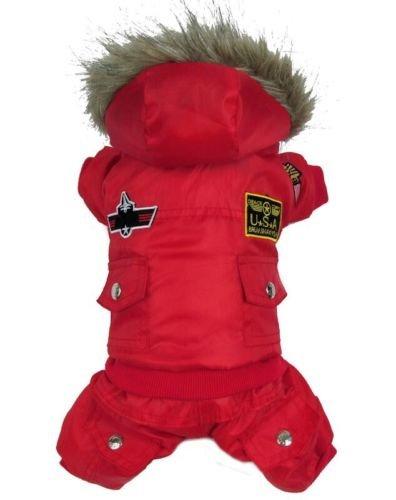 Vlunt Hund warm winter Hund-Mantel-Jacke USA AIR FORCE Wasserdicht pet hoody Kleidung fuer kleine Hund (Hoody Designer)