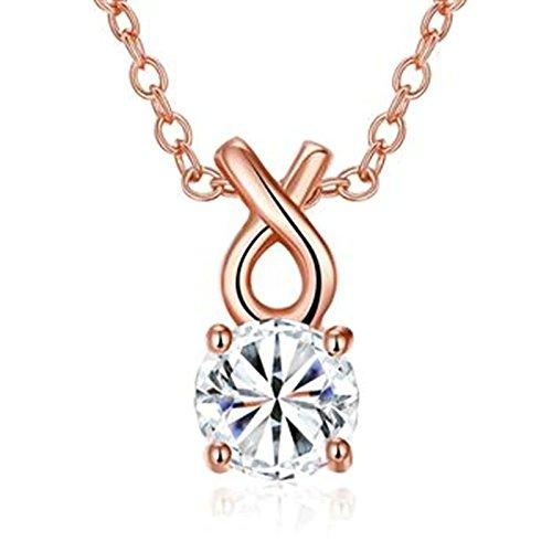 Aeici Versilbert Anhänger Halsketten für Frauen Geometrische CZ Halskette Weiß Roségold 45X1.5X0.7 cm -