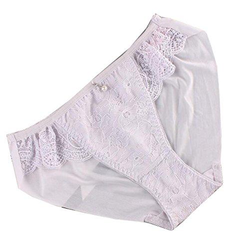 CHLXI Anhänger Niedrige Taille Eis Seide Unterwäsche Weibliche Spitze Atmungsaktiv Vier Geladen,Grey-OneSize (Hipster Brief Floral)