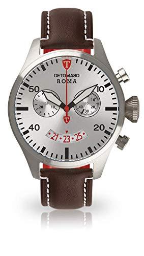 Detomaso Roma reloj de pulsera para hombre con caja de acero inoxidable y correa de piel marrón plateadas. Hombre Cuarzo elegante de reloj con esfera plateada