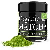 Matcha Ceremonial - Té verde matcha orgánico en polvo - 1oz - Matcha japonés de alta calidad - Perfecto para la ceremonia del té y la limpieza holística - Té 100% orgánico - Aumenta la vitalidad