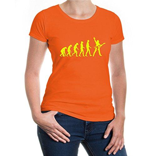 buXsbaum® Girlie T-Shirt The Evolution of electric guitar Orange-Neonyellow