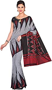 ODISHA HANDLOOM Women's Sambalpuri Cotton Saree With Un-stitched Blouse (gy bk kar_G