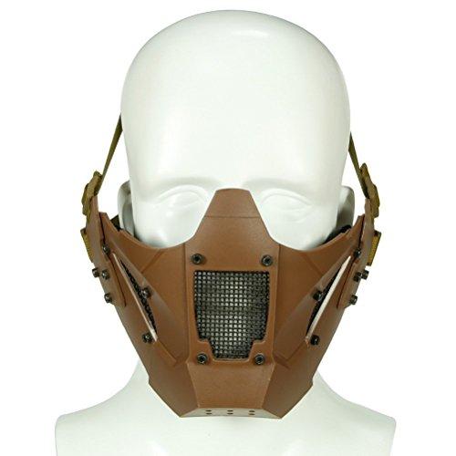 ten Face Schutzhülle Tactical Mesh Maske 2in 1Für die Jagd Paintball CS Spiel BB Gun Shooting Halloween und fast helm Zubehör tan OD schwarz grau MultiCam Camo, Coyote Brown (Raum Helm Kostüme)