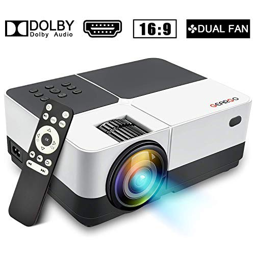 GEARGO Mini proyector, 2800 Lúmenes Full HD 1080P Proyector Portátil, Pantalla de 185', 50000 Horas Proyector LED de Video de Cine en casa Compatible con PC Smartphone Tablet