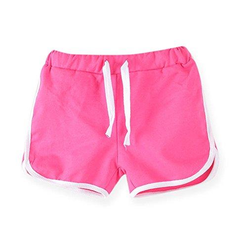 LaoZanA Kinder Jungen Mädchen Kordelzug Sommer Shorts Kurze Hose Hotpants Rose 130